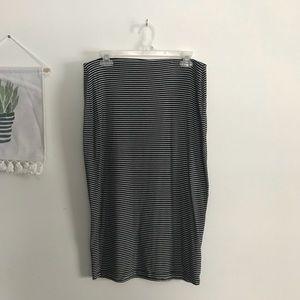 ➖Striped Jersey Pencil Midi Skirt